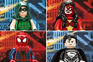 2013 SDCC LEGO EXCLUSIVE MINIFIGURE SET OF ALL 4: GREEN ARROW, SUPERMAN, SPIDER-MAN, & SPIDER-WOMAN!