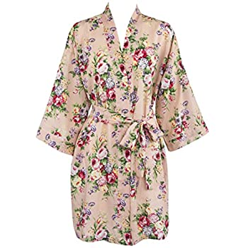 Leisureland Women's Cotton Lightweight Short Kimono Robe Vintage Floral 36""