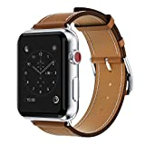 Yearscase 42MM Genuine Leather Replacement Band with Classic Metal Adapter Clasp Single Tour for Apple Watch Series 3 Series 2 Series1 Nike+ Hermes&Edition - Brown