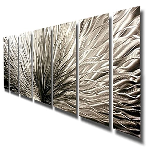 Abstract Metal Wall Art Silver Plumage / By Jon Allen