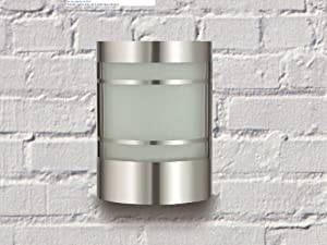 Wand-Außenleuchte aus Edelstahl & Glas IP44 Außenlampe Hoflampe Gartenlampe Gartenleuchte Wandlampe 1010