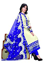 Khushali Women's Cream Glaze Cotton Straight Unstitched Salwar Suit Material