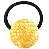 Sunshine Yellow Peach Faux Snake Skin Fabric Covered Button Hair Elastic