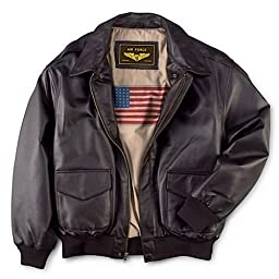 Landing Leathers Men\'s Air Force A-2 Leather Flight Bomber Jacket - Brown XXL