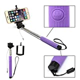 CLD Brands Best 2015 Adjustable Monopod - built-in Remote For Selfie pictures - Camera Stick - Includes Clamp Holder For iPhone and smart phones - (Purple)