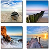 Wieco Art 4 Panels Canvas Print Wall Art for Wall Decor 12x12inchx4pcs, P4R1x1-06
