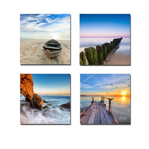 Wieco Art - Canvas Print, Stretched and Framed, the Extensive 4 Panels Canvas Wall Art for Wall Decor and Home Decoration Modern Canvas Art, 12x12inchx4pcs, P4R1x1-6
