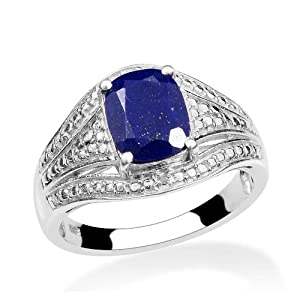 Lapis Lazuli, Diamond 2.01CT Ring In Platinum Plated Sterling Silver (Size N)