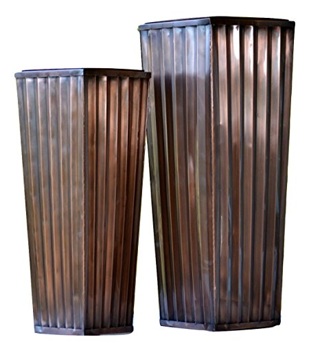 H Potter Patio Deck Flower Ribbed Garden Planter Antique Copper Finish (SET OF TWO)
