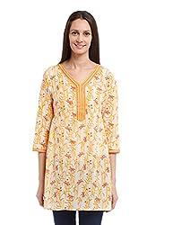 Fabindia Women's Mull Printed Tunic (10347867_White and Yellow_Small)