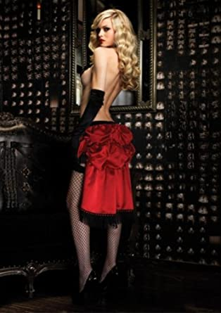 Leg Avenue Bombshell Bustle Skirt With Draped Bead Accent Red One Size Fits Most