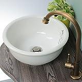 【Matilda】スワンキー(アンティーク・ブラス)×【Plan de Paris】クレストホワイト 単水栓 手洗い器 排水金具 セット
