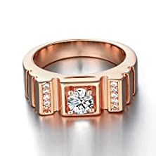 buy Men'S Fashion Squares Rings With Round Cubic Zirconia Cz- Rose Gold