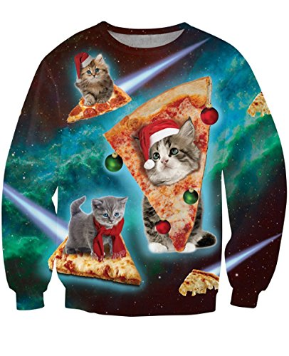 Ugly Cat Pizza Shirt Christmas Sweatshirt