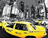 Schwarz/Wei� Fotografie - Poster NYC Taxis Broadway