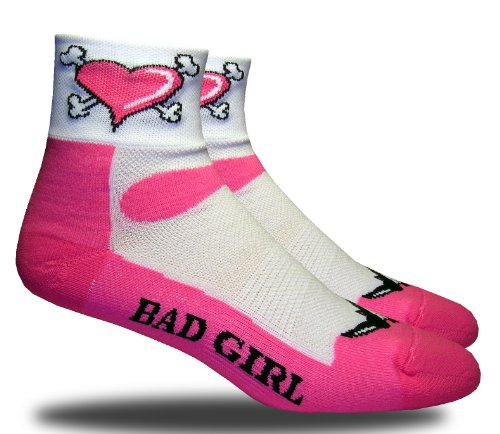 RHINO SOCKS SS series, Bad Girl, pink/white, anklet sports cycling biking hiking running socks