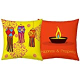 Best Festival Gifts Diwali Christmas New Year Set Of 2 Colourful Printed Polyester 12x12 Cushions Yellow & Orange...
