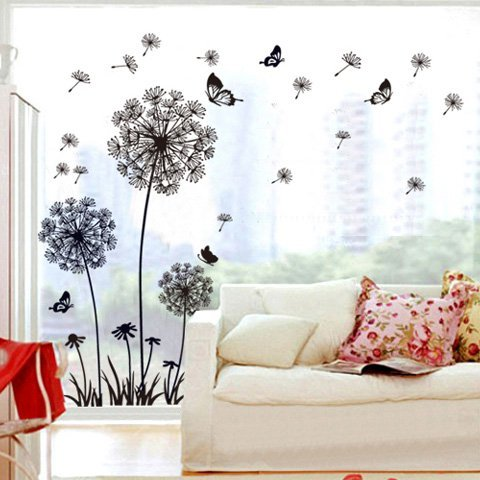 Theme Decal Dandelion Butterfly Removable Wall Stickers, 165 x 130 cm, Black (Removable Wall Stickers compare prices)