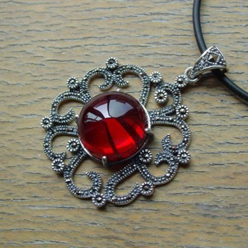 Sterling Silver Marcasite and Red Corundum Pendant Jewelry 17.8g 55mmx40mm