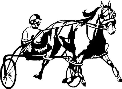 Harness Racing Horse Decal Outdoor Safe Black Right