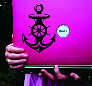 Nautical Anchor and Helm Vinyl Decal Sticker Art Graphic Sticker Laptop Car Window