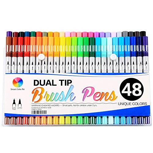 Smart Color Art Dual Tip Brush Pens with Fineliner Tip 0.4 Art Marker (48 Unique Colors)