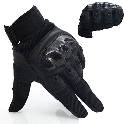 OMGAI Men's Full Finger Motorcycle Gloves of PU Leather and Hard Knuckle for Military Tactical Airsoft Outdoor Sports with Velcro Black, L