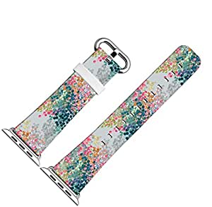 Iwatch Bands 42mm,Apple Watch Band Genuine Prime Elegant Leather Replacement For All iWatch With Silver Metal Adapter - Vintage Color Dot Pattern