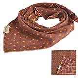 PUPTECK Pet Dog Cat Puppy Bandana Bibs Triangle Head Scarf Accessories Neckerchief for Small to Large Breed, Brown