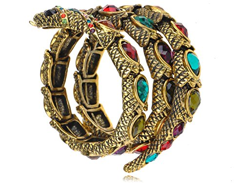 Jewel Gem Crystal Rhinestone Snake Wrap Bracelet Bangle Cuff