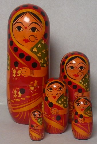 RUSSIAN DOLL, WOODEN, INDIAN LADY WITH NOSE RING,