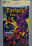 STAN LEE Gold Ink Signed Rare Vintage Fantastic Four #76 (July, 1968) Comic Book Magazine with the Silver Surfer & Galactus appearances Marvel Comics Co-creator CBCS Witnessed Auto and Graded Comic a 7.0
