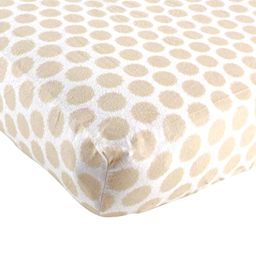 Luvable Friends Fitted Flannel Crib Sheet, Tan Fuzzy Dots - 1