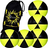 Flames N Games ASTRIX UV Thud Juggling Balls set of 5 (Black/UV Yellow) Pro 6 Panel Leather Juggling Ball Set & Travel Bag!