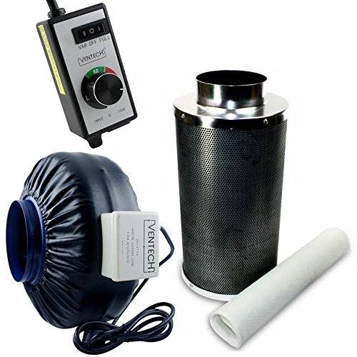 VenTech VT IF6+CF6-B Inline Exhaust Blower Fan with Carbon Filter and Variable Speed Controller, 440 CFM, 6