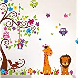 1 X Jungle Zoo Happy Owl, Lion With Giraffe Wall Decal For Kids, Nursery Room