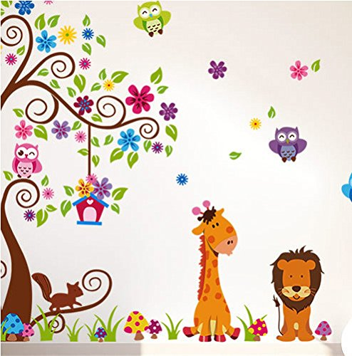 1 X Jungle Zoo Happy Owl, Lion with Giraffe Wall Decal for Kids, Nursery Room - 1