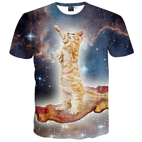 1911NCメンズ 3Dプリント ヒップホップ おもしろ おしゃれ ファッション ロック スタイル 猫柄 Tシャツ 半袖 夏