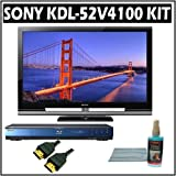 Sony Bravia V-Series KDL-52V4100 52in. 1080P LCD HDTV With Sony Blu-Ray Player and Accessory Kit