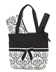 Belvah Quilted Damask Print 3 Pc Diaper Bag - Black/White