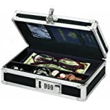 Vaultz Locking Mini Cash Box with Tray, 8.5 x 2.75 x 5.5 Inches, Black (VZ00304)