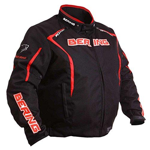 Bering brakos Kingsize taglie forti giacca da moto nero/rosso