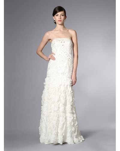 Sue Wong Women's Embellished Gown with Ruffled Skirt  [White]