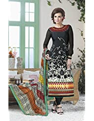 Designer Dress Material Multi Color Semi Stiched Straight Cut Salwar Kameez Suit. - B00ZUEAXQM