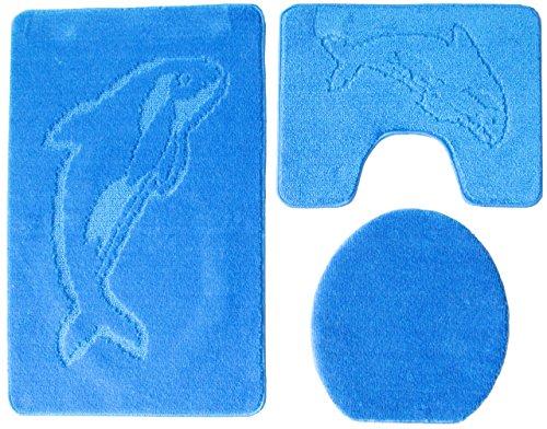 badgarnitur 3 teilig badgarnitur blau badset delphin stand wc badematten teppich. Black Bedroom Furniture Sets. Home Design Ideas