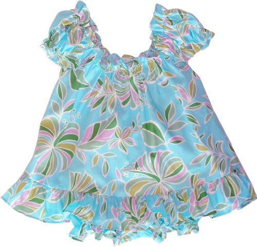 Modern Flowers Hawaiian Aloha Girl's Puff Sleeve Dress & Matching Panties 2PC Cabana Set in Aqua - 6 Months