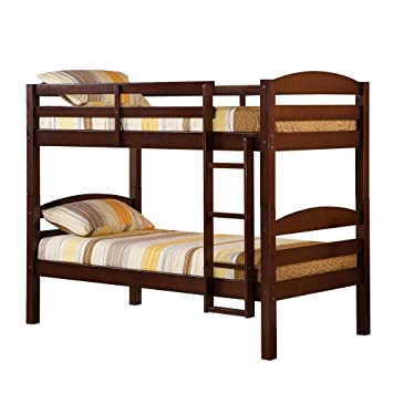Nice Beds WE Furniture Twin Twin Solid Wood Bunk Bed Cherry
