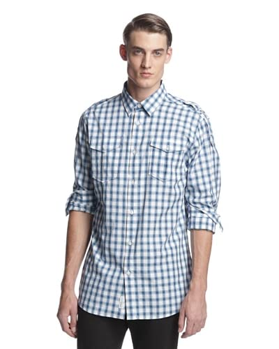Versace Jeans Men's Checked Long Sleeve Woven Shirt