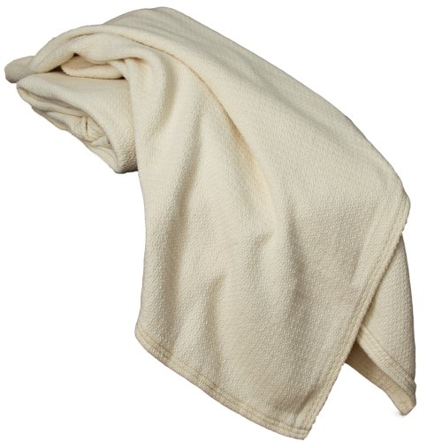 Lifekind Organic Cotton Thermal Crepe Weave Blanket - Queen (Natural) 90X90 Inches front-905213