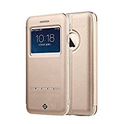 TOTU iPhone 6/6s Plus Case,[Touch Series][View Window] Folio Flip PU Leather Case [Magnetic Closure],With Unique Stand And Metal Sensor Cover For Apple iphone 6 Plus (Gold)